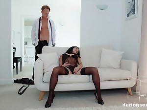 Classy babe Rina Ellis gasps for air while throating a heavy gumshoe