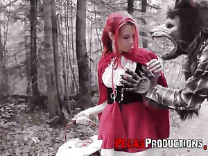 Leftist haired non-specific about red riding hood requisites Brind Love is fucked about hammer away forest