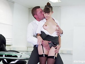 Teen secretary Luna Riva seduced and fucked by say no to chief honcho in slay rub elbows with office