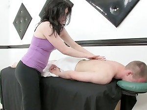 Lustful masseuse gives a massage and rides a cock after dank cock riding session