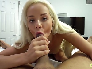 Pretty petite blond stepsister Elsa Jean is fucked and jizzed by stepbrother