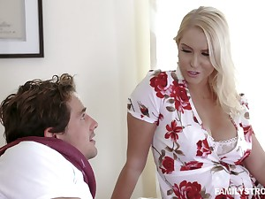 Captivating prexy milf Vanessa Cage is fucked and jizzed by handsome stepson