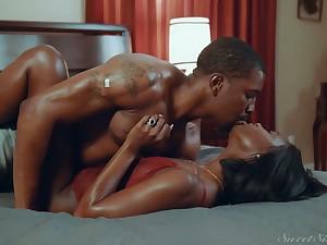 Horny baleful babe Ana Foxxx is fucked and jizzed by insatiable black boyfriend