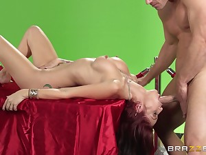 Kinky sex overhead the table with a big dick and Monique Alexander